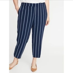 Old Navy mid rise pull on pants navy stripped